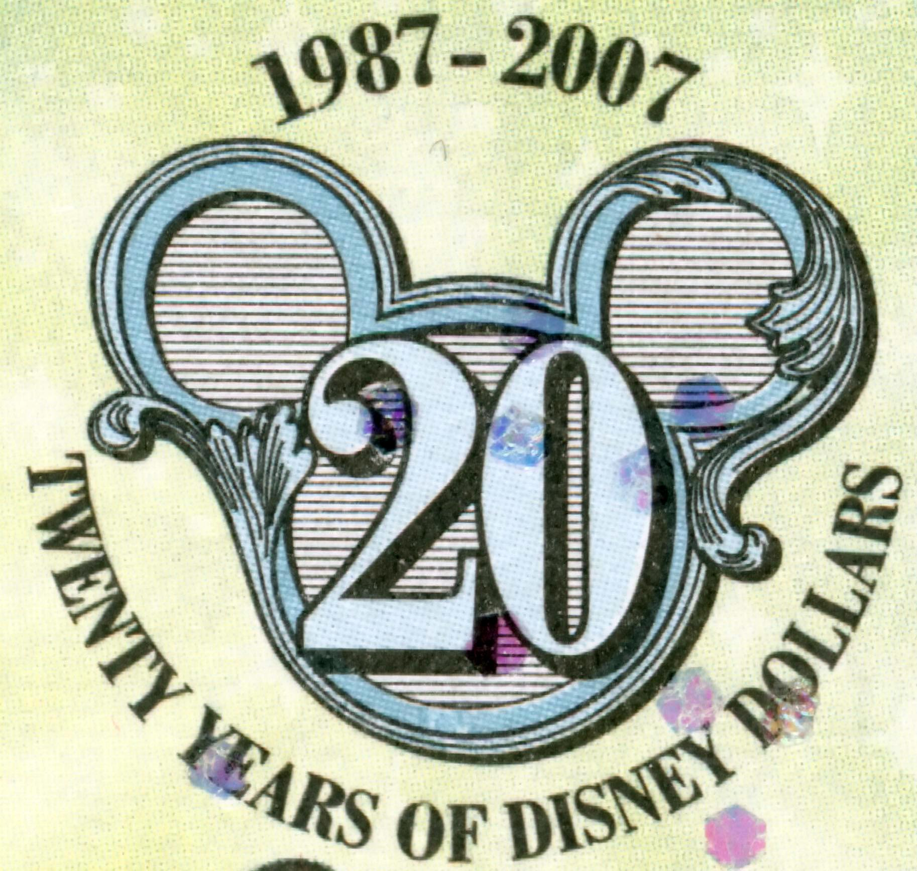 Disney Dollars 20th Anniversary Seal